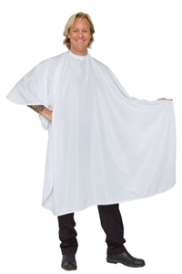 Beautylove white hair cutting cape, large snap neck.