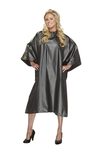 BeautyLove Big Flirt Chemical cape, water proof large snap neck cape.  Chemical cape for the salon client.  Sliver grey shimmer water proof cape.