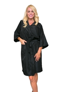 BeautyLove salon kimono, snap smock for salon, fixed ties kimono, silky polyester for salon, stain color resistant salon kimono, large salon smock